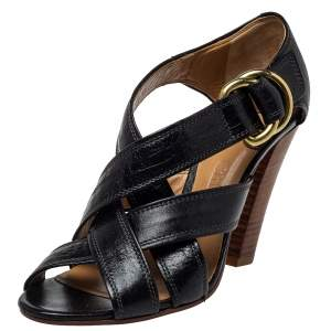 Chloe Black Leather Cross Over Ankle Strap Sandals Size 38