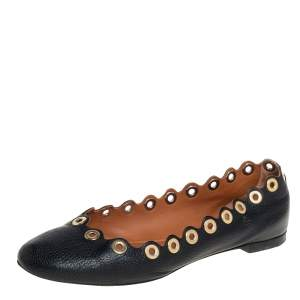 Chloé Black Leather Ballet Flats Size 38.5