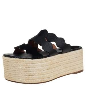 Chloe Black Suede And Leather Espadrille Platform Slide Sandals Size 37