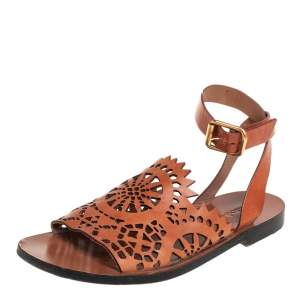 Chloe Brown Leather Laser Cut  Ankle Strap Sandals Size 38.5
