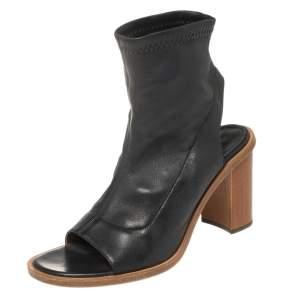 Chloe Black Leather Open Toe Block Heel Ankle Booties Size 38