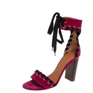 Chloe Burgundy Suede Miles Ankle Wrap Sandals Size 40