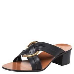 Chloe Black Leather Rony Block Heel Slide Sandals Size 39