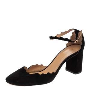 Chloe Black Scalloped Suede Ankle Strap Block Heel Sandals Size 42