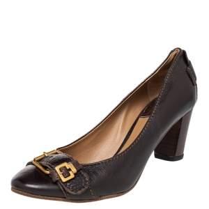 Chloe Brown Leather Buckle Detail Block Heel Pumps Size 38