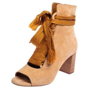 Chloe Beige Suede Peep Toe Block Heel Ankle Boots Size 40