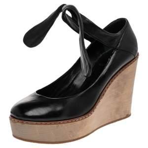 Chloe Black Leather Wedge Platform Ankle Wrap Sandals Size 37