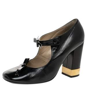 Chloe Black Leather Mary Jane Bow Block Heel Pumps Size 38.5