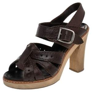 Chloe Brown Leather Open Toe Platform Ankle Strap Sandals Size 38