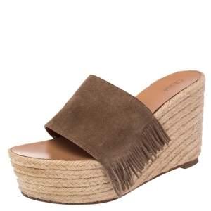 Chloe Brown Suede Fringe Detail Wedge Espadrille Sandals Size 39