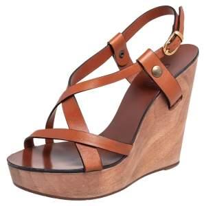 Chloe Brown Leather Ankle Strap  Wedge Platform Sandals Size 36