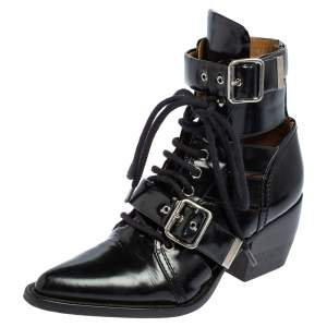 Chloe Black Leather Rylee Ankle Boots Size 36