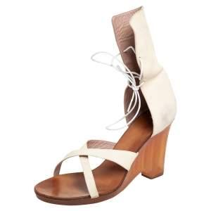 Chloe Beige Leather Open Toe Criss Cross Gladiator Sandals Size 41