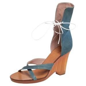 Chloe Blue Leather Open Toe Criss Cross Gladiator Sandals Size 41