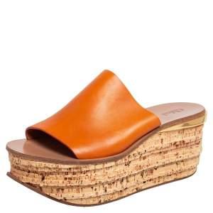 Chloe Tan Leather Cork Platform Slide Sandals Size 38