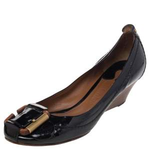 Chloe Black Patent Leather Wedge Pumps Size 36
