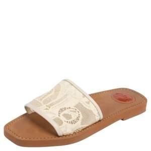Chloe White Lace Slide Flats Size 38