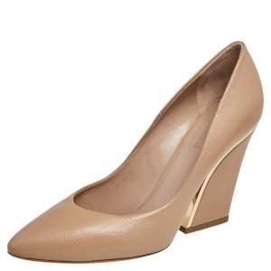 Chloe Beige Textured Leather Beckie Pumps Size 40