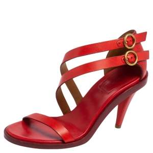 Chloe Red Leather Double Ankle Strap Niko Sandals Size 36