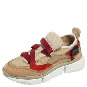 Chloe Beige/Maroon Mesh and Suede Sonnie Sneakers Size 37