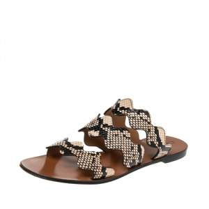 Chloe Two Tone Python Embossed Leather Lauren Strappy Flat Sandals Size 39