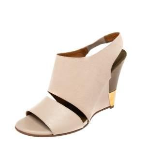Chloe Beige Leather Eliza Wedges Slingback Sandals Size 37.5