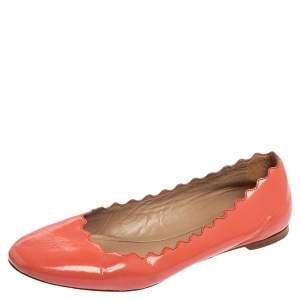 Chloe Coral Pink Patent Leather Lauren Scalloped Ballet Flats Size 38