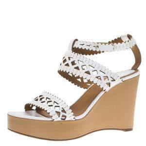 Chloe White Cutout Leather Platform Wedge Sandals Size 40