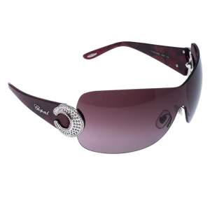 Chopard Purple SCH 939S Crystal Embellished Shield Sunglasses