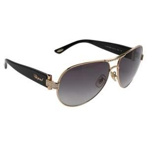 نظارة شمسية شوبارد أس سي أتش 866أس متدرجة أفياتور مزرخفة كريستال أسيتات أسود/ لون ذهبي