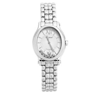 Chopard Silver Stainless Steel Diamond Happy Sport 8602 Women's Wristwatch 30 mm