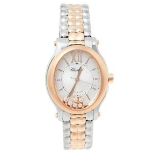 Chopard Silver 18K Rose Gold & Stainless Steel Diamonds Happy Sport Oval 278602-6002 Women's Wristwatch 29 mm