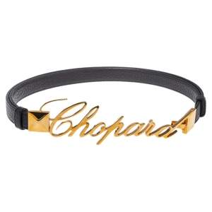 Chopard Black Leather Logo Buckle Adjustable Belt 105CM