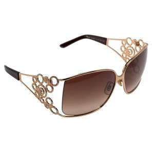 Chopard Brown/Gold SCH 699S Crystal Embellished Gradient Oversized Sunglasses
