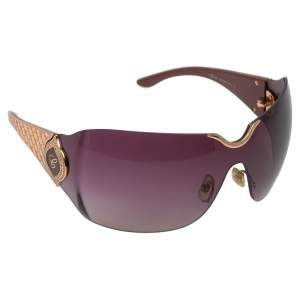 Chopard Gold/Burgundy Gradient SCH 883S Crystal Embellished Shield Sunglasses
