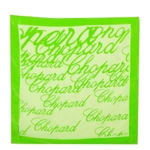 منديل شوبارد حرير مطبوع شعار الماركة أخضر