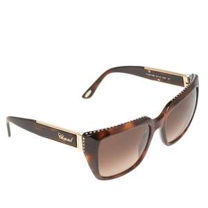 Chopard Brown Acetate SCH190S Crystal Embellished Gradient Sunglasses