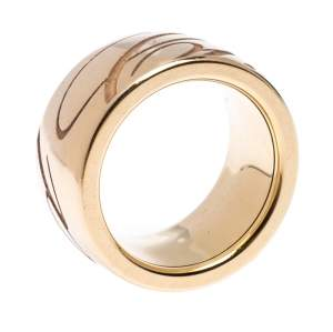 Chopard Chopardissimo Revolving Signature 18k Rose Gold Band Ring Size 54