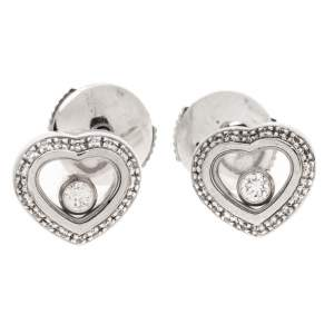 Chopard Happy Diamonds 18K White Gold Heart Stud Earrings