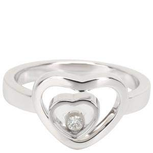 Chopard Happy Diamonds Double Heart 18K White Gold Ring Size 56