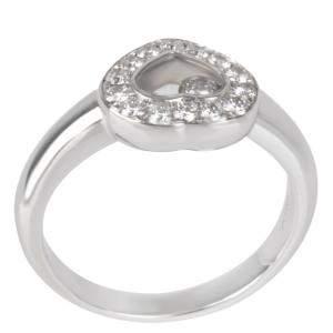 Chopard Happy Diamonds Heart 0.33 CTW 18K White Gold Ring Size 49