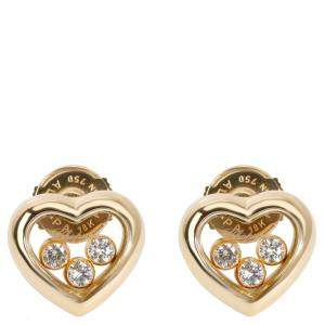 Chopard Happy Hearts Diamond 0.18 CTW 18K Yellow Gold Earrings