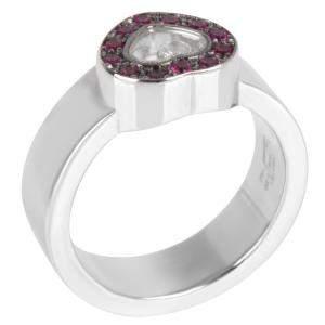 Chopard Happy Diamonds Heart 0.02 CTW 18K White Gold Ring Size 61