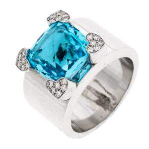 Chopard Blue Topaz & Diamond 18k White Gold Ring Size 54.5