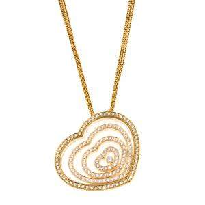 Chopard Diamond Heart 18k Yellow Gold Pendant Necklace
