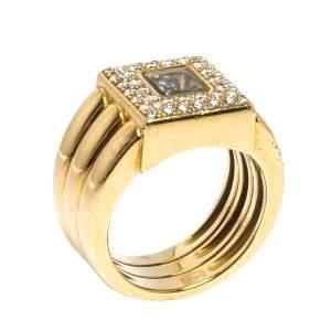 Chopard Happy Diamonds 18K Yellow Gold Wide Ring Size 52.5
