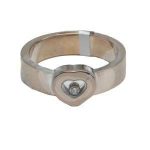 Chopard White Gold Heart Happy Diamond Ring Size 67