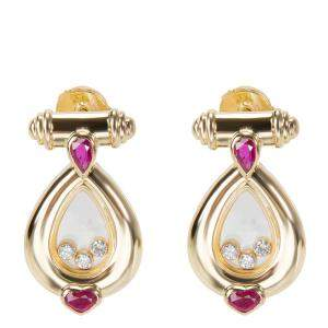 Chopard Vintage Happy Diamond 18K Yellow Gold Diamond Rubies Drop Earrings