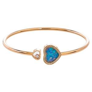 Chopard Happy Hearts Opal & Diamond 18K Rose Gold Open Bracelet S