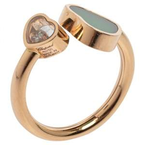 Chopard Happy Hearts Green Agate Diamond 18K Rose Gold Ring Size 52/53
